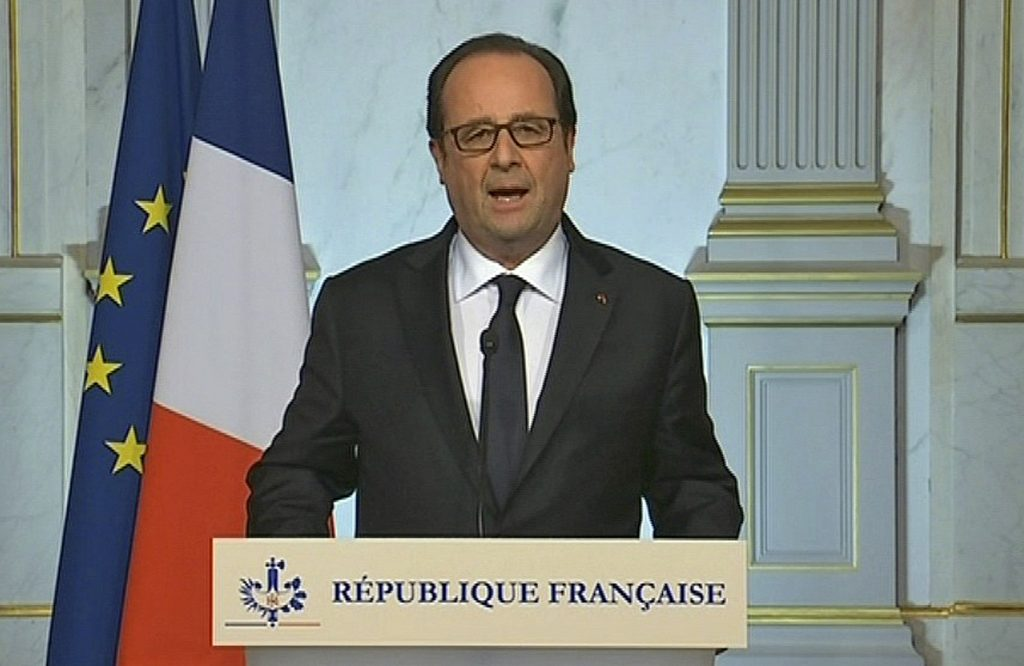 French President Francois Hollande makes a televised address in Paris early Friday . (French Pool via AP)