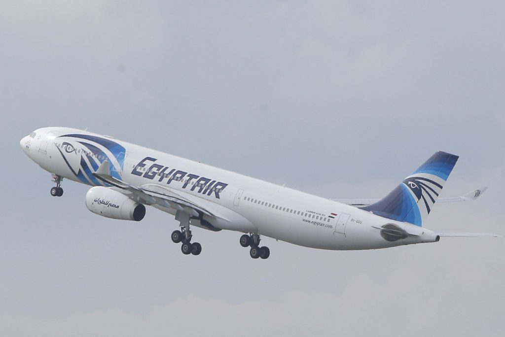 FILE - In this May 19, 2016 file photo, an EgyptAir Airbus A330-300 takes off for Cairo from Charles de Gaulle Airport outside of Paris. (AP Photo/Christophe Ena, File)