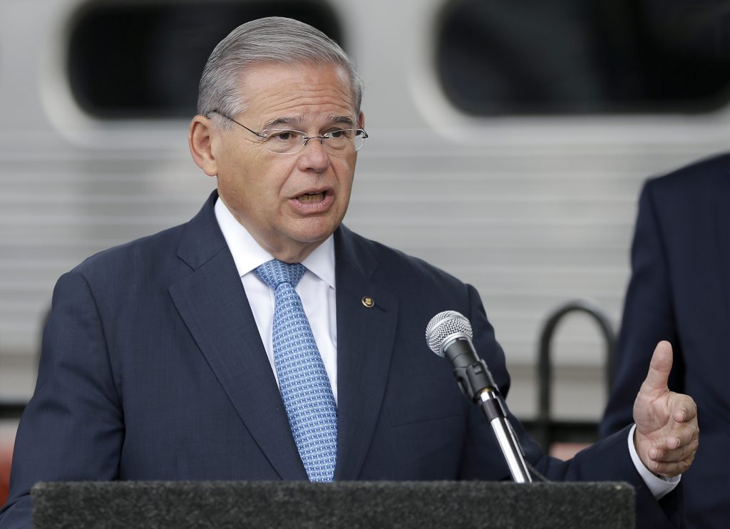 U.S. Sen. Bob Menendez speaks during a news conference talking about Superstorm Sandy relief fund, Friday. (AP Photo/Julio Cortez)