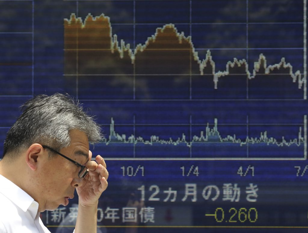 A man walks by an electronic stock board of a securities firm in Tokyo, Monday, July 4, 2016. Asian stocks rose Monday following Wall Street's gains as expectations increased that central banks might ease monetary policy following Britain's vote to leave the European Union. (AP Photo/Koji Sasahara)