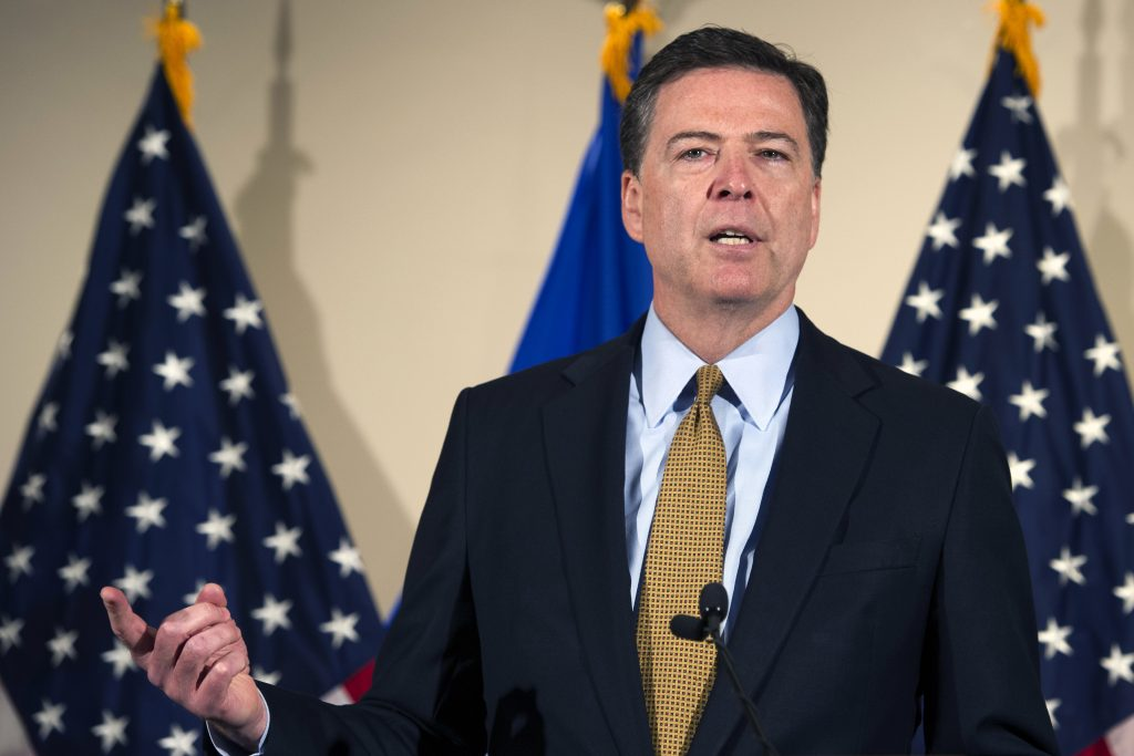 FBI Director James Comey makes a statement at FBI Headquarters in Washington. (AP Photo/Cliff Owen)