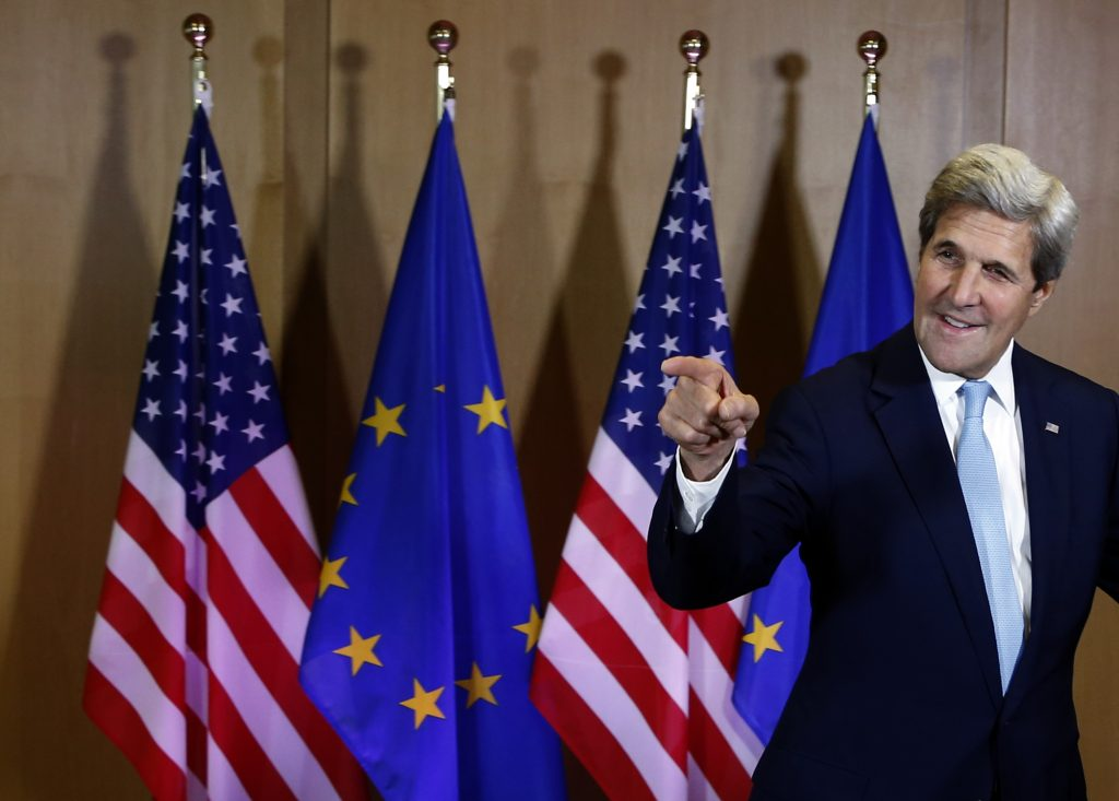 U.S. Secretary of State John Kerry speaks with journalists at the EU Council building in Brussels, Belgium, Monday, July 18, 2016. (AP Photo/Darko Vojinovic)