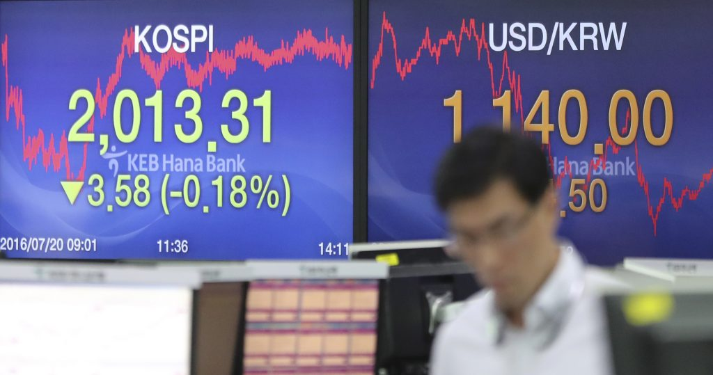 A currency trader walks by the screens showing the Korea Composite Stock Price Index (KOSPI), left, and the foreign exchange rate between U.S. Dollar and South Korean Won at the foreign exchange dealing room in Seoul, South Korea, Wednesday, July 20, 2016. Asian stock markets were mixed Wednesday as investors reassessed the global economy following the International Monetary Bank's global growth cut. They remained keen on corporate earnings reports and also on the European Central Bank's policy meeting later in the week. (AP Photo/Lee Jin-man)