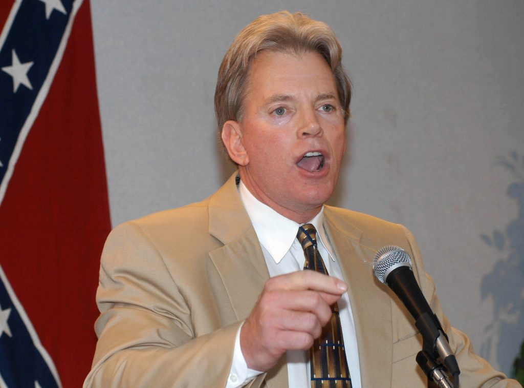 Former Ku Klux Klan leader David Duke speaking to supporters in Kenner, La., in 2004. (AP Photo/Burt Steel, File)