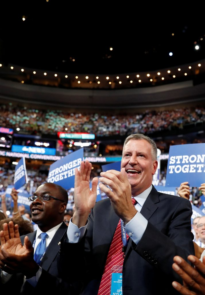 New York City Mayor Bill de Blasio at the Democratic National Convention in Philadelphia on Monday. (AP Photo/Carolyn Kaster)