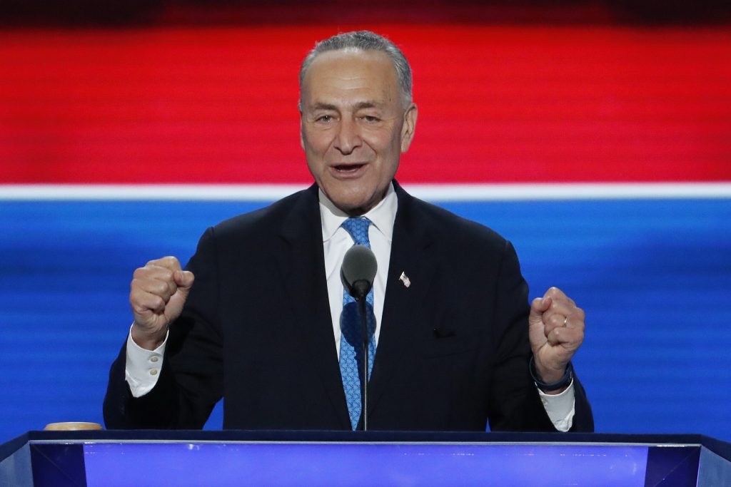 Sen. Chuck Schumer, D-NY., speaks during the second day of the Democratic National Convention in Philadelphia , Tuesday, July 26, 2016. (AP Photo/J. Scott Applewhite)