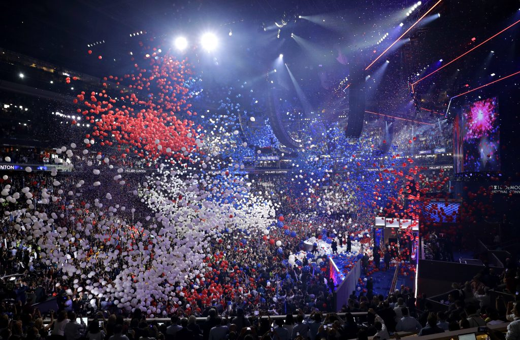 Balloons fall after Democratic presidential nominee Hillary Clinton spoke during the final day of the Democratic National Convention, on Thursday night in Philadelphia. (AP Photo/John Locher)