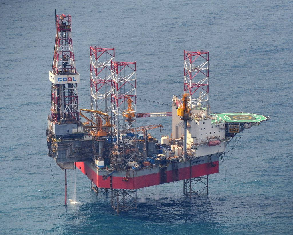 This Feb. 9, 2012 photo shows a China's oil rig operated in the East China Sea. (Kyodo News via AP)