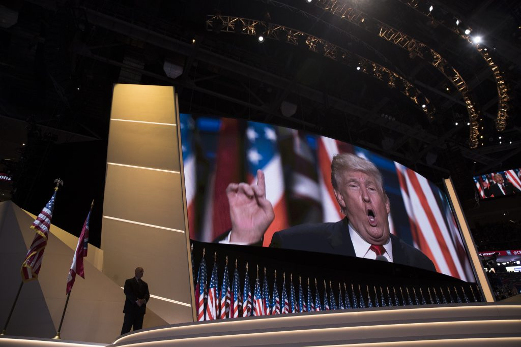 Republican presidential candidate Donald Trump speaks during the final night of the Republican National Convention, Thursday, July 21, 2016, in Cleveland. (AP Photo/Evan Vucci)