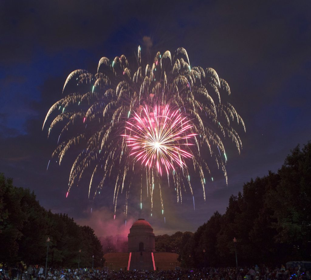 Fireworks are set off during Canton Ohio's Monumental Fourth Celebration at the William McKinley Presidential Library and Museum on Sunday, July 3, 2016, in Canton, Ohio. (Bob Rossiter/The Canton Repository via AP)