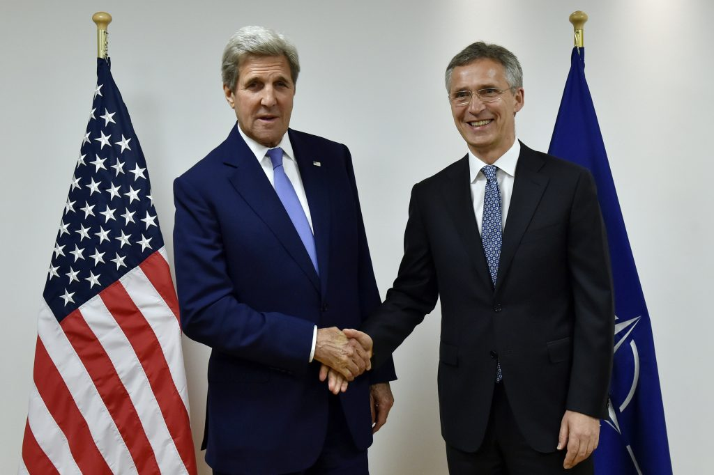 U.S. Secretary of State John Kerry, left, meets with NATO Secretary General Jens Stoltenberg, right, at NATO headquarters in Brussels, on Monday, June 27, 2016. (Eric Vidal, Pool Photo via AP)