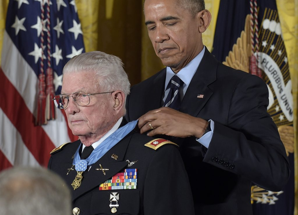 President Barack Obama presents the Medal of Honor to retired Army Lt. Col. Charles Kettles during a ceremony in the East Room of the White House on Monday. (AP Photo/Susan Walsh)