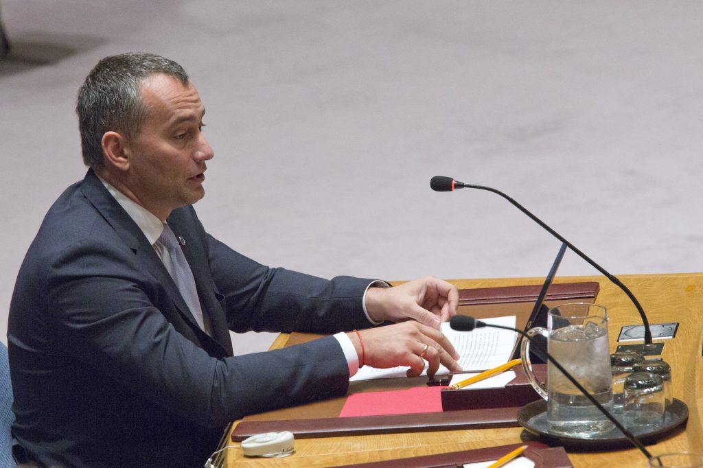 Nickolay Mladenov, shown here addressing a U.N. Security Council meeting in March, regarding the Israeli-Palestinian conflict. (AP Photo/Mary Altaffer)