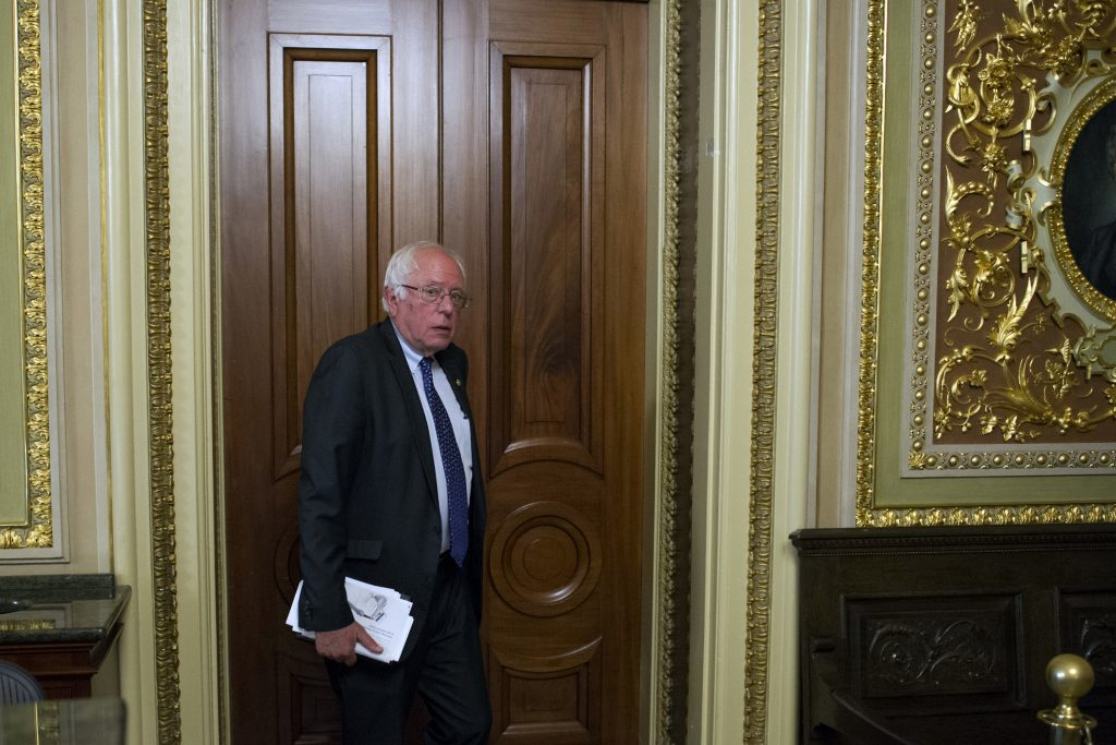 Bernie Sanders, shown here leaving a Democrat policy luncheon on Capitol Hill last week. (AP Photo/Cliff Owen)