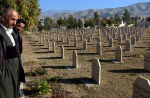 In this Dec. 7, 2006, photo, men stand at a graveyard where the victims of the 1988 gas attack on Halabja, Iraq, by Saddam Hussein's regime were laid to rest.  (AP Photo/Yahya Ahmed, File)