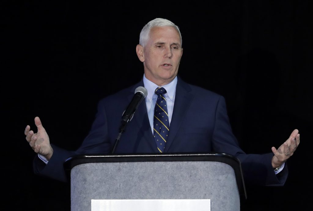Indiana Gov. Mike Pence speaks during the Innovation Showcase in Indianapolis on Thursday. (AP Photo/Darron Cummings)