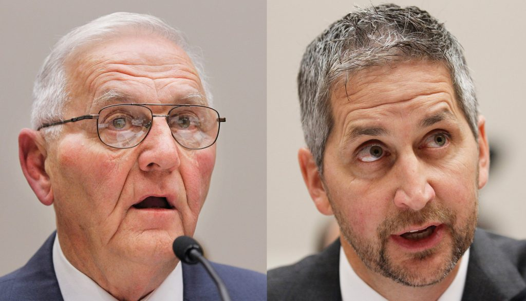 """This composite photo shows Quality Egg LLC owner Austin """"Jack"""" DeCoster, left, and its chief operating officer, Peter DeCoster. (AP Photo/Manuel Balce Ceneta, file)"""