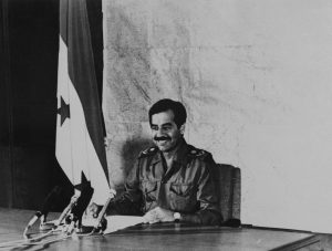 Iraqi President Saddam Hussein delivers an address to the nation from Baghdad on Sept. 29, 1980. (AP Photo/National Iraqi News Agency)