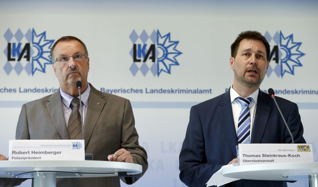 President of the Bavarian State Office of Criminal Investigation Robert Heimberger (L) and Senior Prosecutor Thomas Steinkraus-Koch attend a news conference after a shooting rampage at the the Olympia shopping mal in Munich, Germany July 24, 2016. REUTERS/Arnd Wiegmann