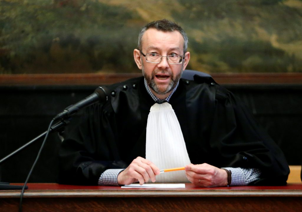Belgian judge Pierre Hendrickx presides the trial of suspects in foiled Islamist attack plot in the town of Verviers last year, at the Brussels Palace of Justice, Belgium July 5, 2016. REUTERS/Francois Lenoir