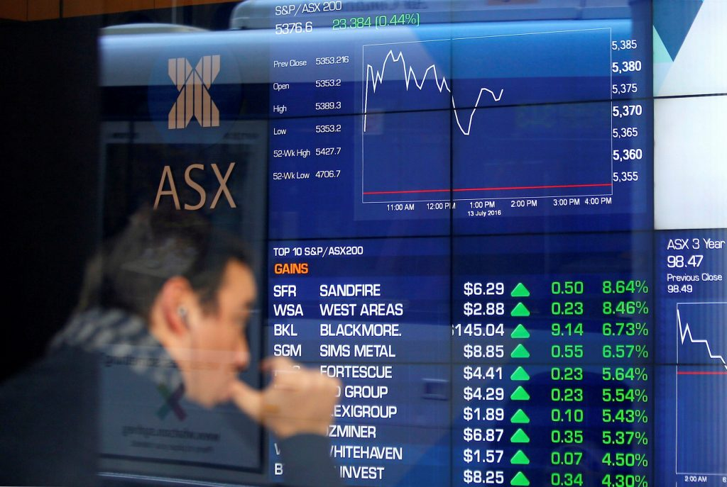 An investor reacts as he looks at a board displaying stock prices at the Australian Securities Exchange (ASX) in Sydney, Australia, July 13, 2016. REUTERS/Steven Saphore EDITORIAL USE ONLY. NO RESALES. NO ARCHIVE.