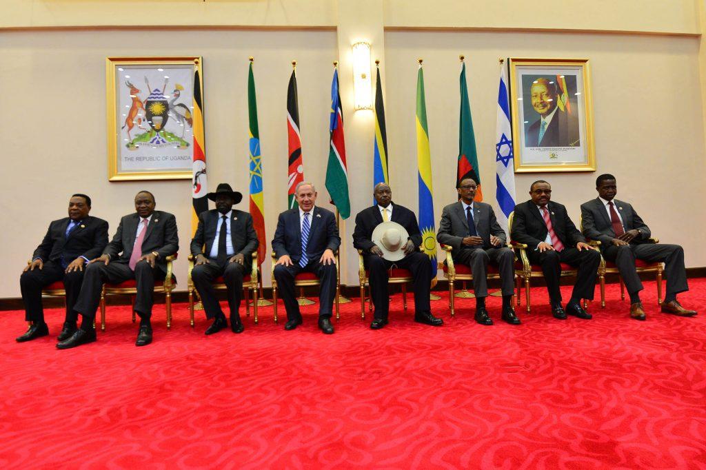 Israeli Prime Minister Binyamin Netanyahu seated with the presidents of Uganda, Ethiopia, Kenya, Rwanda, South Sudan, Tanzania and Zambia. (Kobi Gideon (GPO))