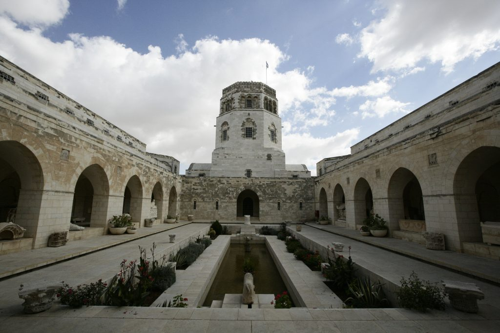 The courtyard of the Rockefeller Museum in east Yerushalayim. (Abir Sultan/Flash90)