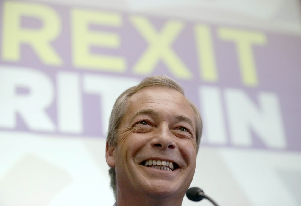 Nigel Farage, the leader of the United Kingdom Independence Party (UKIP), speaks at a news conference in central London, Britain July 4, 2016. Farage said he will step down as leader of UKIP. REUTERS/Neil Hall