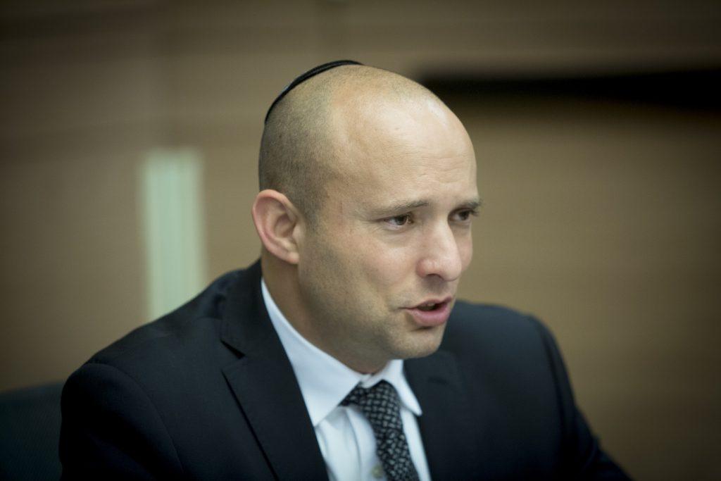 Education Minister Naftali Bennett (Jewish Home) (Yonatan Sindel/Flash90)