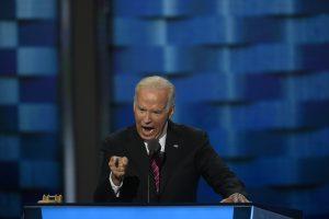 Vice President Joe Biden addresses the DNC on Wednesday. (Washington Post photo by Michael Robinson Chavez)