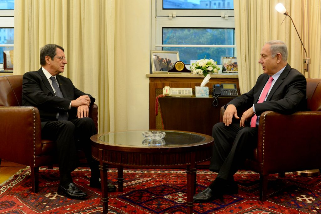 Prime Minister Binyamin Netanyahu (R) meets with President of Cyprus, Nicos Anastasiades, at the Prime Minister's Office in Yerushalayim on Sunday. (Kobi Gideon/ GPO)
