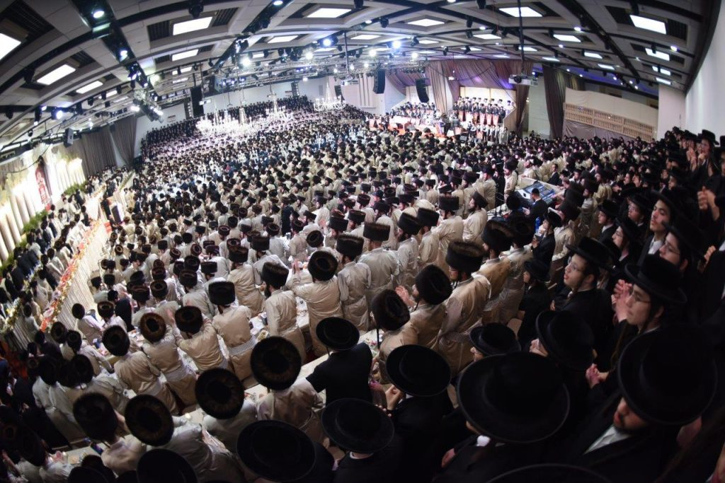 A view of the large crowd during spirited dancing at the Siyum HaShas. (JDN)