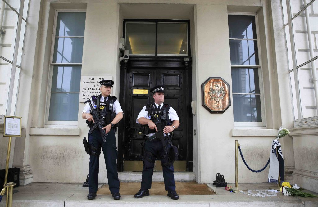 Armed police stand guard outside the French embassy in London, Britain July 15, 2016. REUTERS/Paul Hackett