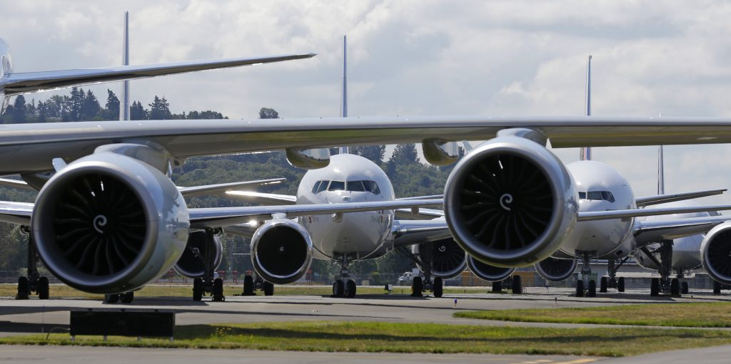 Boeing 7-series passenger airplanes sit  in a lineup formation during an event marking the 100th Anniversary of the Boeing Co., in Seattle, on July 15. (AP Photo/Ted S. Warren, File)