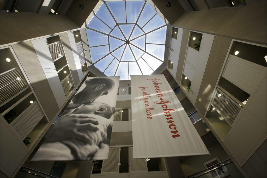 An atrium at the headquarters of Johnson & Johnson in New Brunswick, N.J. (AP Photo/Mel Evans, File)