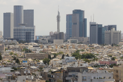 Tel Aviv skyline, with Defense Ministry headquarters at the center. Photo by Miriam Alster/FLASH90
