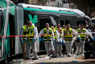 The site of a terror attack in the Armon Hanatziv neighborhood of Jerusalem.16 people were wounded, six of them seriously when two terrorists armed with guns and knives boarded a bus and began a shooting and stabbing spree. October 13, 2015. Photo by Yonatan Sindel/FLASH90 *** Local Caption *** ????? ???? ????? ????? ??????? ??????? ??? ?????