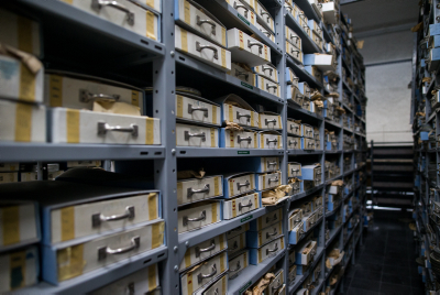 View of the Israeli broadcast authority archive at the Israeli broadcast authority offices in Jeruslaem, March 21, 2016. Photo by Yonatan Sindel/Flash90