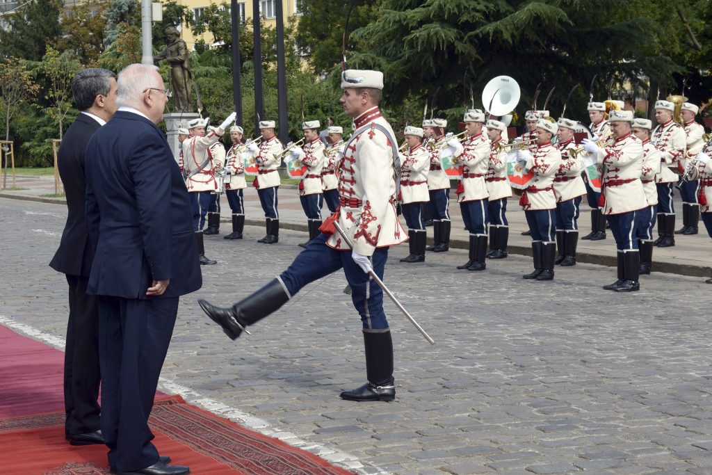 "Israeli President Reuven Rivlin and Bulgarian counterpart Rosen Plevneliev review a honor guard as Rivlin's arrives for a visit in Sofia, Bulgaria on July 7, 2016. photo by Haim Zach/GPO *** Local Caption *** נשיא המדינה ראובן ריבלין בביקור ממלכתי בסופיה בולגיה צילום חיים צח / לע""מ photo by Haim Zach / GPO"