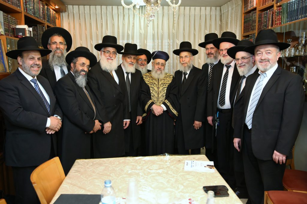 Sephardi Chief Rabbi Yitzhak Yosef meets with newly appointed Supreme Rabbinical Court judges in Jerusalem, July 13, 2016. Photo by Yaacov Cohen/Flash90 *** Local Caption *** øá ãééï ãééðéí øáðåú îéðåé äøá éöç÷ éåñó