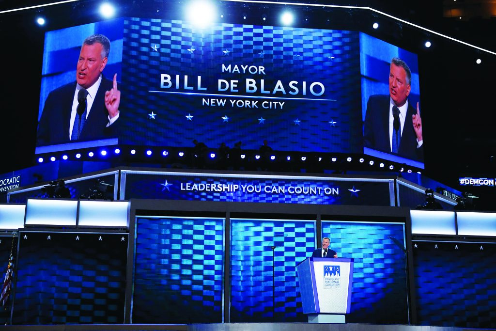 New York City Mayor Bill de Blasio speaks on the third day at the Democratic National Conventionin Philadelphia, Pennsylvania, Wednesday. (REUTERS/Mark Kauzlarich)