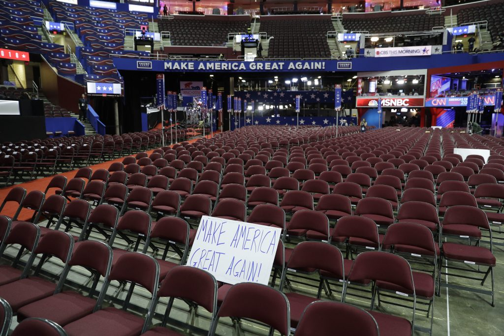 Quicken Loans Arena is set up for the third day of the GOP Convention in Cleveland, on Wednesday. (AP Photo/John Locher)