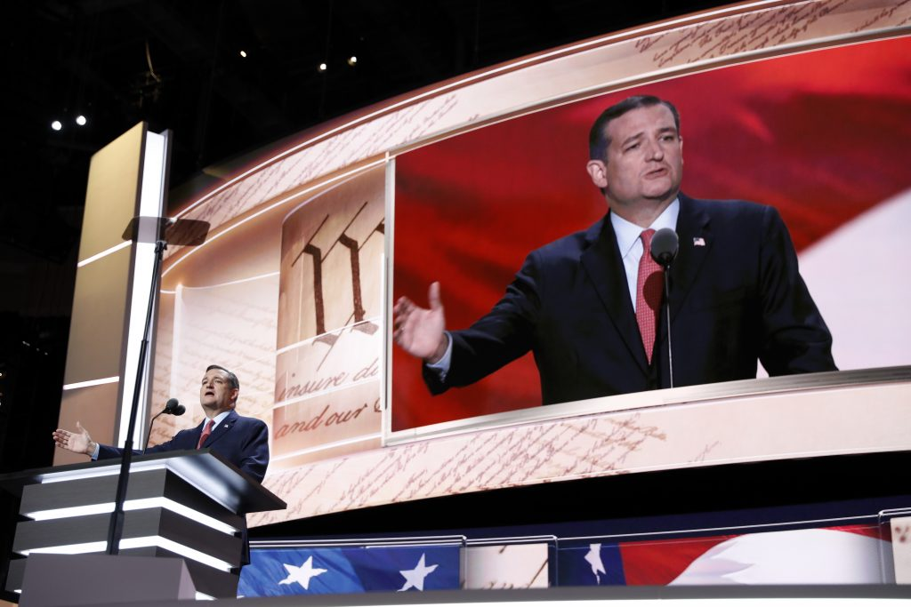 Sen. Ted Cruz, R-Tex., speaking at the Republican National Convention on Wednesday. (AP Photo/Mary Altaffer)