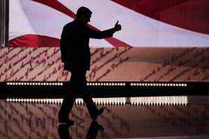 Ted Cruz leaves the stage after speaking at the RNC. (AP Photo/J. Scott Applewhite)