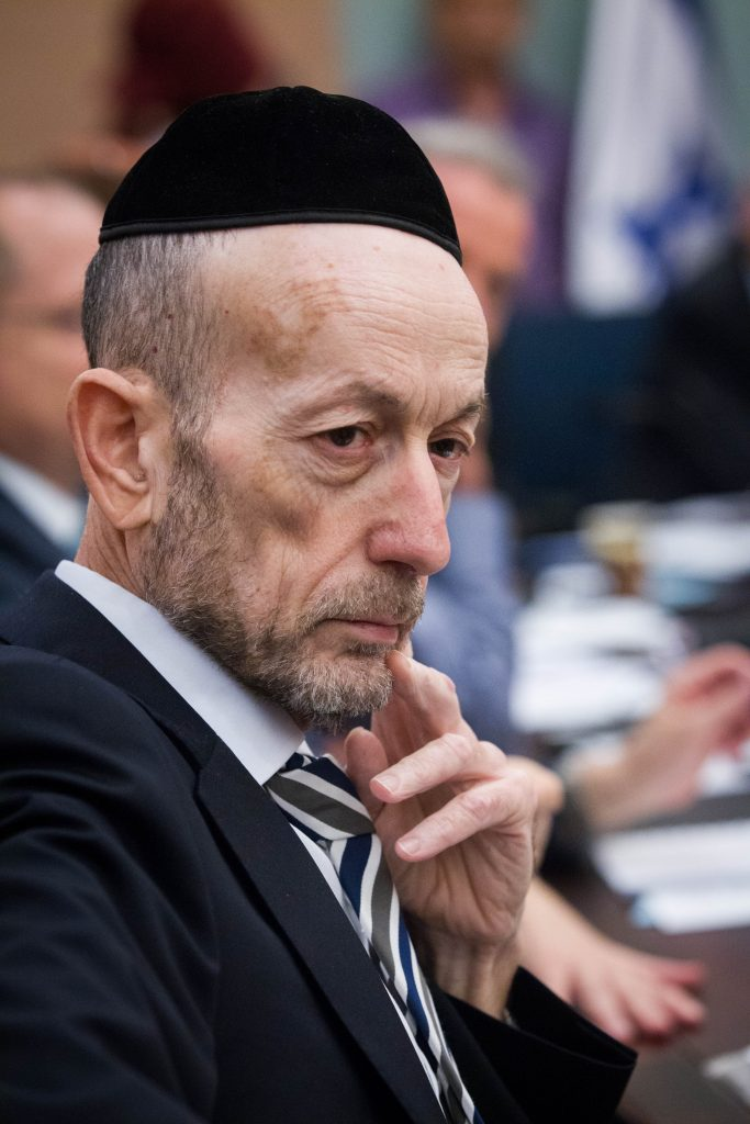 United Torah Judaism MK Uri Maklev listening to the discussion at a Knesset committee meeting. (Miriam Alster/Flash90)