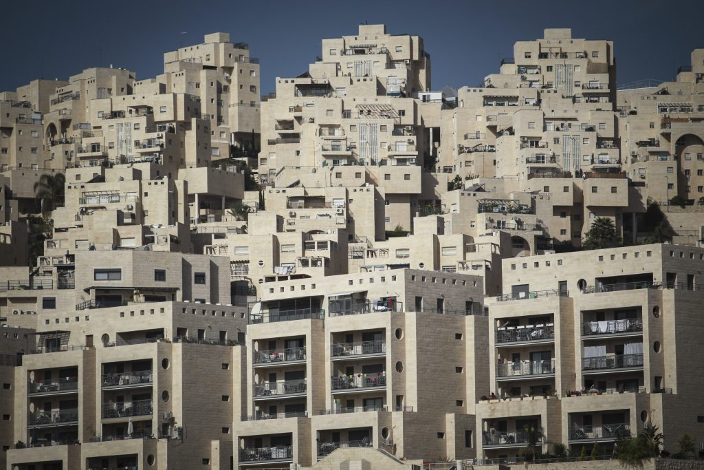 Apartment buildings recently built in the Jewish neighborhood of Har Homa, in eastern Yerushalayim. (Hadas Parush/Flash90)