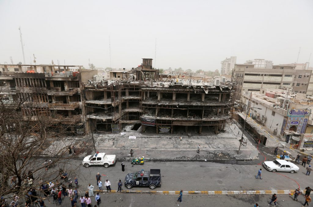 A general view of the site after a suicide car bomb attack at the shopping area of Karrada, a largely Shi'ite district, in Baghdad, Iraq July 4, 2016. REUTERS/Ahmed Saad