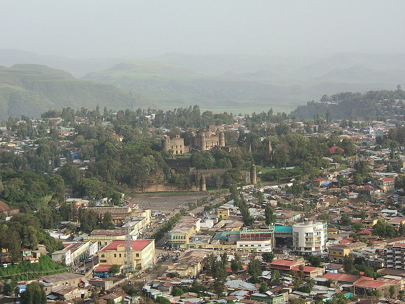 An aerial view of the city of Gondar, Ethiopia.