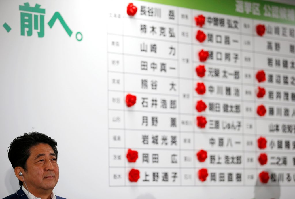 Japan's Prime Minister Shinzo Abe, who is also leader of the ruling Liberal Democratic Party (LDP), attends a news conference after Japan's upper house election as rosettes are seen on names of candidates who are expected to win the upper house election, at the LDP headquarters in Tokyo, Japan July 10, 2016. REUTERS/Toru Hanai