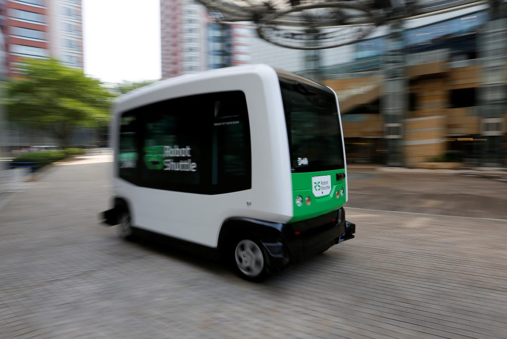 Japan's internet commerce and mobile games provider DeNA Co's Robot Shuttle, a driver-less, self driving bus, is seen during its demonstration in Tokyo, Japan July 7, 2016. REUTERS/Toru Hanai
